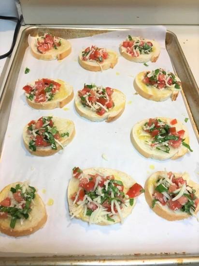 before baking bruschetta