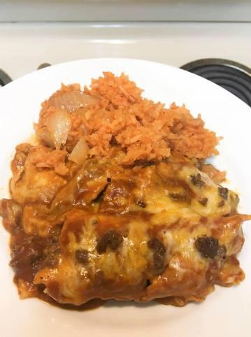 enchiladas and rice