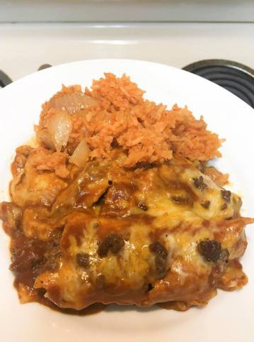 enchiladas and rice