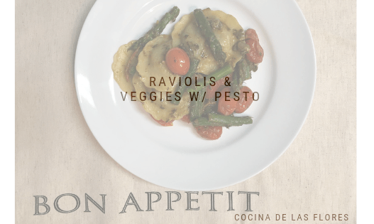 Raviolis & Veggies w/ Pesto